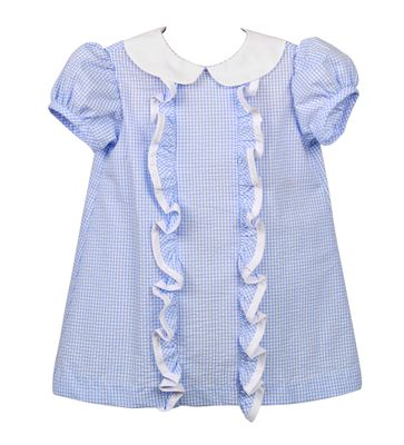 Funtasia Baby / Toddler Girls Blue Check Seersucker Ruffle Float Dress
