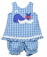 Funtasia Baby / Toddler Girls Blue Plaid Whale Bloomers Set