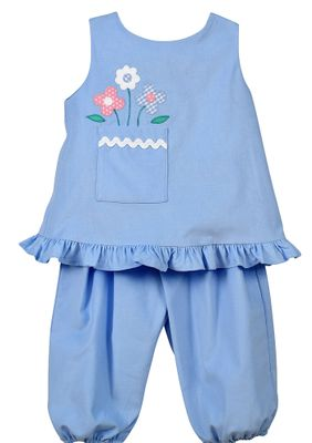 Funtasia Baby / Toddler Girls Blue Popover Set - Flowers in Pocket