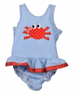 Funtasia Baby / Toddler Girls Blue Seersucker Ruffle Swimsuit - Red Crab - One Piece