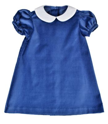 Funtasia Baby / Toddler Girls French Blue Velvet Float Dress with Shantung Collar