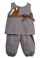 Funtasia Baby / Toddler Girls Navy Blue / Brown Plaid Horse Popover Set