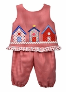 Funtasia Baby / Toddler Girls Red Gingham Check Little Houses Popover Set