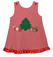 Funtasia Baby / Toddler Girls Reversible Red Gingham Christmas Tree Jumper Dress - Reverses to Valentine Heart