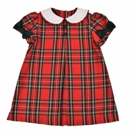 Funtasia Baby / Toddler Girls Red Holiday Plaid Float Dress - Green Bows on Sleeves