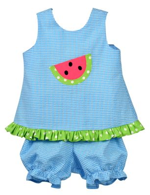 Funtasia Baby / Toddler Girls Turquoise Blue Check Watermelon Bloomers Set