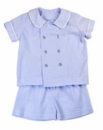Funtasia Boys Blue Stripe Seersucker Double Breasted Shorts Set