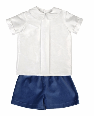 Funtasia Boys French Blue Velvet Shorts with Shantung Pleat Shirt