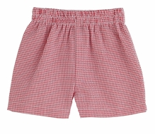 Color Works by Funtasia Boys Pull On Shorts - Seersucker - Red Checks