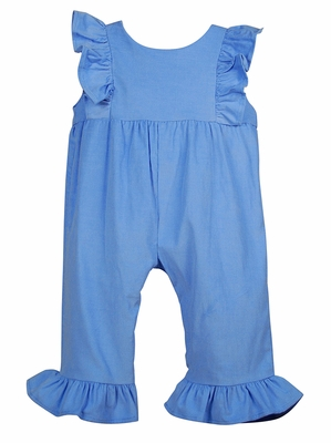 Funtasia Color Works Baby / Toddler Girls Corduroy Ruffle Romper - Periwinkle Blue