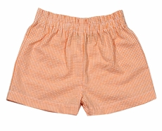 Funtasia Color Works Boys Pull On Shorts - Seersucker - Orange Checks