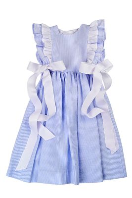 Funtasia Girls Blue Stripe Seersucker Pinafore Dress with Bows