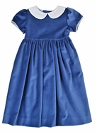 Funtasia Girls French Blue Velvet Waistline Dress with Shantung Collar