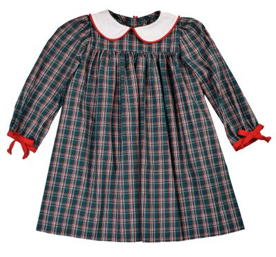 Funtasia Girls Green Holiday Plaid Dress with Red Bows at Sleeves