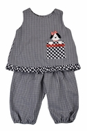 Funtasia Toddler Girls Navy Blue Check Popover Set - Dog in Pocket