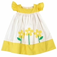 Funtasia Toddler Girls White / Yellow Flowers Angel Sleeve Dress