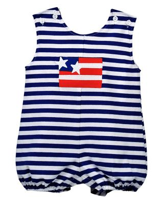 Funtasia Too Baby Boys Blue Striped Patriotic Flag Knit Bubble
