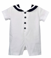 Funtasia Too Baby Boys Classic Sailor Suit Romper - White with Navy Blue Trim