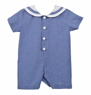 Funtasia Too Baby Boys Navy Blue Seersucker Sailor Suit Romper