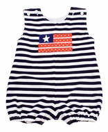 Funtasia Too Baby Boys Navy Blue Stripe Knit Patriotic Flag Bubble