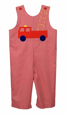 Funtasia Too Baby / Toddler Boys Red Gingham Check Firetruck Longall