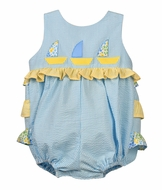 Funtasia Too Baby Girls Aqua / Yellow Seersucker Sailboats Ruffle Bubble