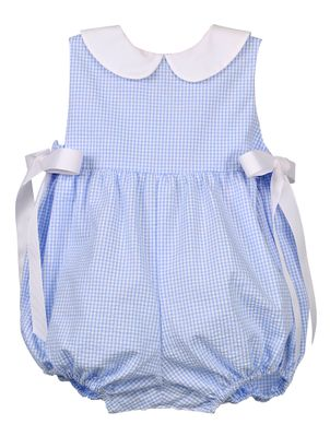 Funtasia Too Baby Girls Blue Check Seersucker Bubble with White Bows