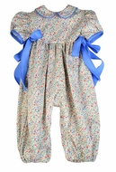 Funtasia Too Baby Girls Blue Floral Romper with Bows at Sides