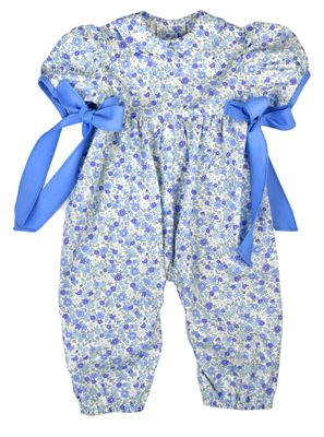 Funtasia Too Baby Girls French Blue Floral Romper with Side Bows