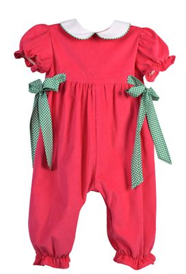 Funtasia Too Baby Girls Hot Pink Corduroy Romper - Green Check Ties