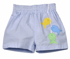 Funtasia Too Baby / Toddler Boys Blue Seersucker Fish Swim Trunks