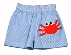 Funtasia Too Baby / Toddler Boys Blue Seersucker Swim Trunks - Red Crab