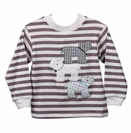 Funtasia Too Baby / Toddler Boys Grey Stripe Knit Shirt - Dogs