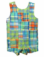 Funtasia Too Baby / Toddler Boys Lime Green Madras Plaid Patchwork Shortall