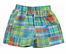 Funtasia Too Baby / Toddler Boys Madras Plaid Patchwork Shorts - Lime