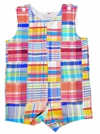 Funtasia Too Baby / Toddler Boys Pastel Patchwork Shortall