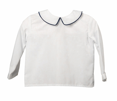 Funtasia Too Baby / Toddler Boys White Dress Shirt - Long Sleeves - Piped in Navy Blue