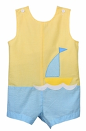 Funtasia Too Baby / Toddler Boys Yellow / Aqua Seersucker Sailboat Shortall