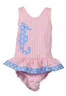Funtasia Too Baby / Toddler Girls Pink Stripe Blue Seahorse Swimsuit - One Piece