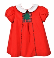 Funtasia Too Baby / Toddler Girls Red Corduroy Float Dress with Christmas Tree