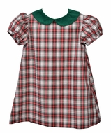 Funtasia Too Baby / Toddler Girls Red Holiday Plaid Float Dress - Green Collar