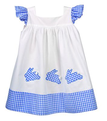 Funtasia Too Baby / Toddler Girls White Dress - Blue Check Easter Bunnies