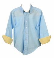 Funtasia Too Boys Aqua Seersucker Dress Shirt - Yellow Contrast