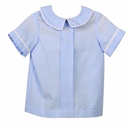 Funtasia Too Boys Blue Check Seersucker Shirt - Front Pleat