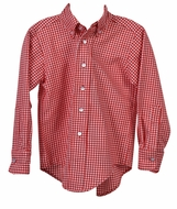 Funtasia Too Boys Button Down Dress Shirt - Red Check Gingham
