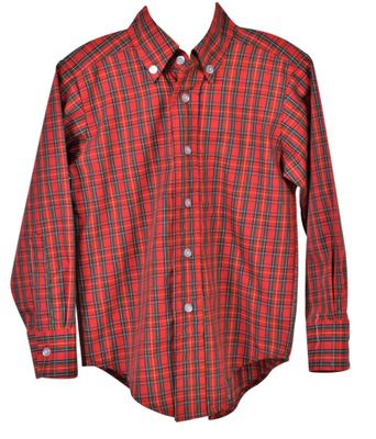 Funtasia Too Boys Button Down Dress Shirt - Red Holiday Plaid