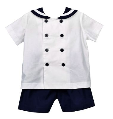 Funtasia Too Boys Classic Sailor Suit Shorts Set - White with Navy Blue Shorts