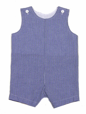 Funtasia Color Works Boys Seersucker Gingham Check Shortall - Navy Blue