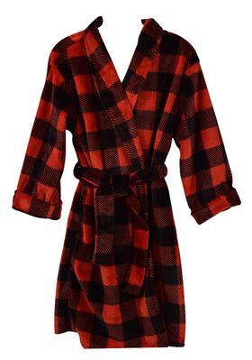 Funtasia Too Boys / Girls Red / Black Buffalo Check Holiday Housecoat Robe