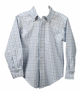 Funtasia Too Boys Grey / Blue Plaid Dress Shirt